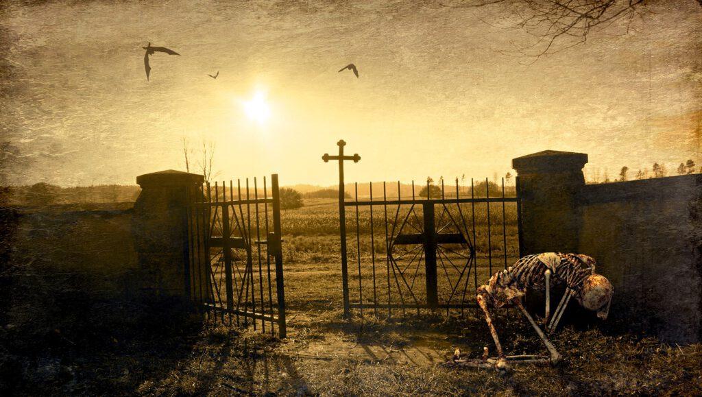Friedhof Skelett