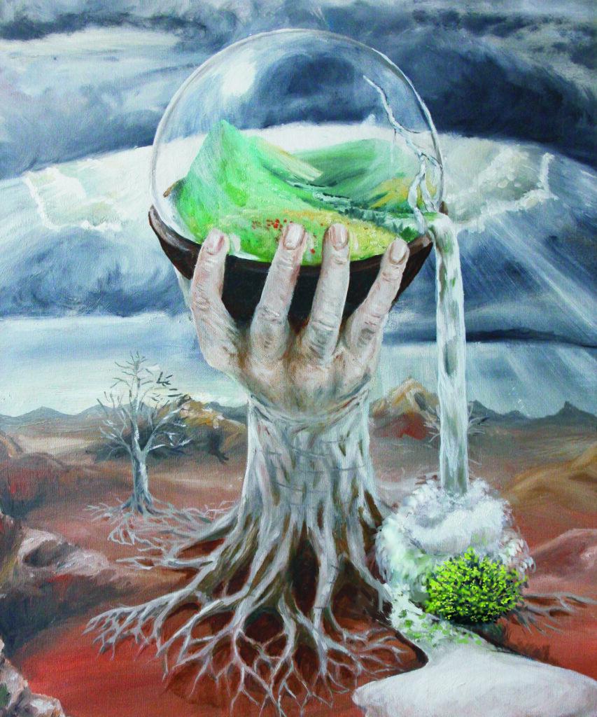 Baum – Hand – Glaskugel